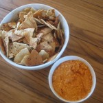 Roasted Red Pepper Dip with Pita Chips