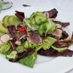 Seared Ahi Tuna Salad with Pickled Cucumbers in a Soy-Ginger Vinaigrette