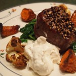 Peppered Filet with Horseradish Cream and Roasted Vegetables