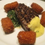 Karen and Gena's  Birthday; Peppered Filet with Bernaise, Potato Croquettes and Wilted Spinach