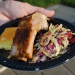 Barbeques Spareribs with Coleslaw and Cornbread