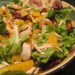 Grilled Shrimp Salad with Oranges and Toasted Almonds in an Orange Curry Vinaigrette