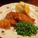 Pork Chops and Applesauce with Mashed Potatoes and Peas