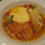 Seared Halibut and Scallops in a Fennel-Saffron Broth with Corn Flan