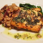 Herb Crusted Artic Char with an Herbed Vinaigrette, Willted Greens and Farro Risotto with Fennel and Radicchio