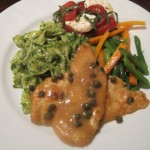 Chicken Picatta with Pesto Pasta and Tomato Salad