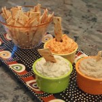 Red Pepper Feta, Baba Ganoush and Hummus with Lavash Chips
