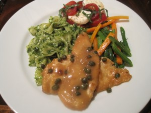 Chicken Picatta with Pesto Pasta, Beans and Carrots and Caprese Salad