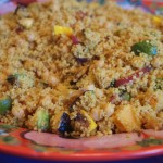 Tumeric Scented Couscous with Garbanzo Beans and Zucchini